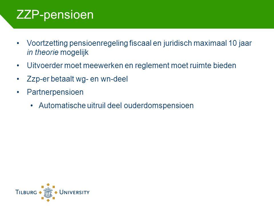 ZZP-pensioen Voortzetting pensioenregeling fiscaal en juridisch maximaal 10 jaar in theorie mogelijk Uitvoerder moet meewerken en reglement moet ruimte bieden Zzp-er betaalt wg- en wn-deel Partnerpensioen Automatische uitruil deel ouderdomspensioen