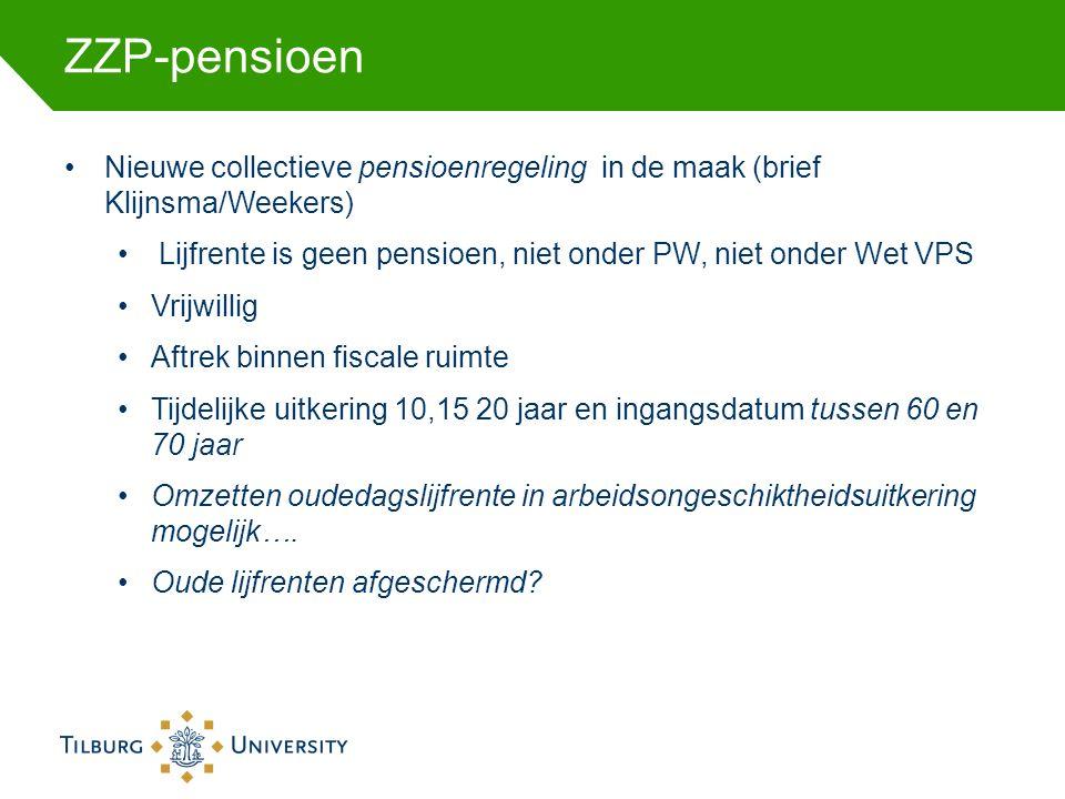 ZZP-pensioen Nieuwe collectieve pensioenregeling in de maak (brief Klijnsma/Weekers) Lijfrente is geen pensioen, niet onder PW, niet onder Wet VPS Vrijwillig Aftrek binnen fiscale ruimte Tijdelijke uitkering 10,15 20 jaar en ingangsdatum tussen 60 en 70 jaar Omzetten oudedagslijfrente in arbeidsongeschiktheidsuitkering mogelijk….