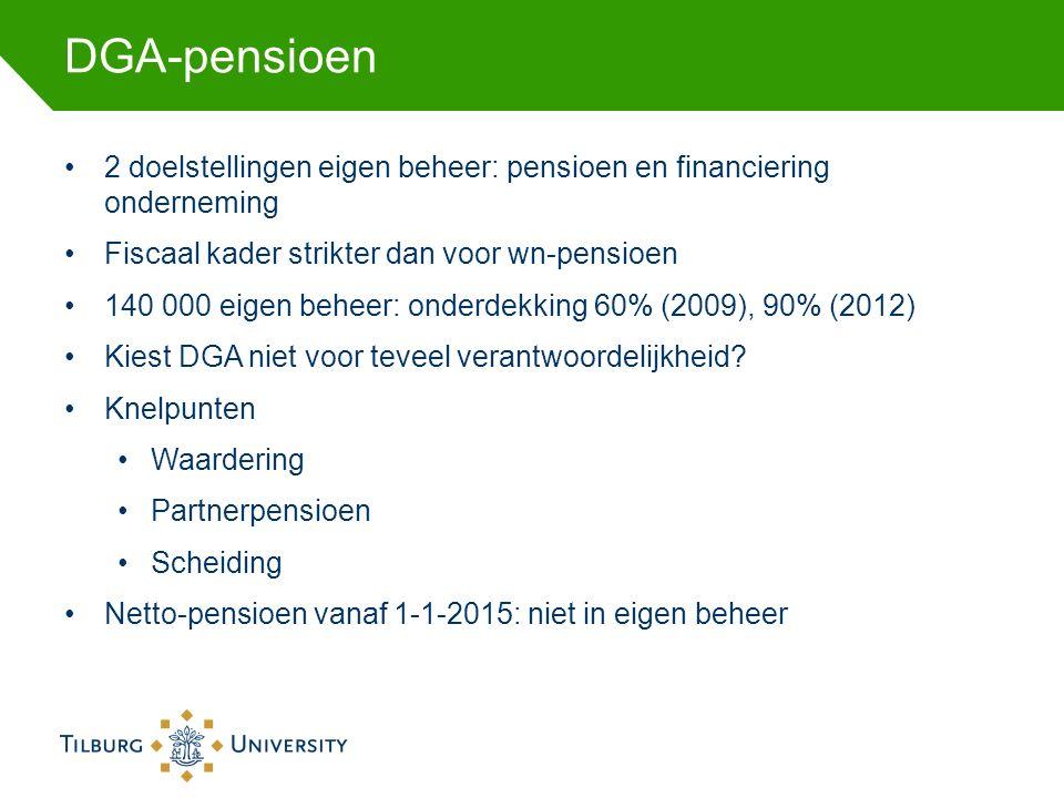 DGA-pensioen 2 doelstellingen eigen beheer: pensioen en financiering onderneming Fiscaal kader strikter dan voor wn-pensioen 140 000 eigen beheer: onderdekking 60% (2009), 90% (2012) Kiest DGA niet voor teveel verantwoordelijkheid.
