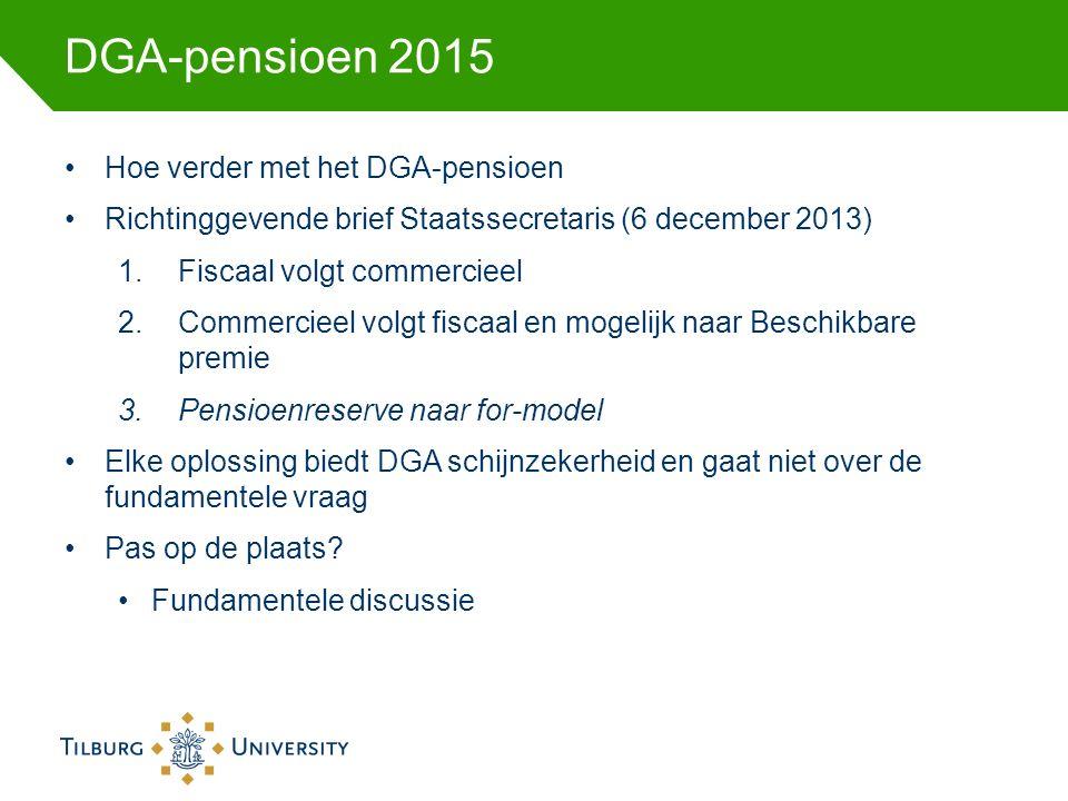 DGA-pensioen 2015 Hoe verder met het DGA-pensioen Richtinggevende brief Staatssecretaris (6 december 2013) 1.Fiscaal volgt commercieel 2.Commercieel volgt fiscaal en mogelijk naar Beschikbare premie 3.Pensioenreserve naar for-model Elke oplossing biedt DGA schijnzekerheid en gaat niet over de fundamentele vraag Pas op de plaats.