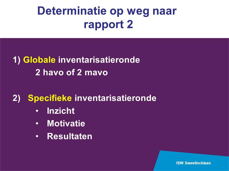 ISW Sweelincklaan Determinatie op weg naar rapport 2 1) Globale inventarisatieronde 2 havo of 2 mavo 2) Specifieke inventarisatieronde Inzicht Motivatie Resultaten