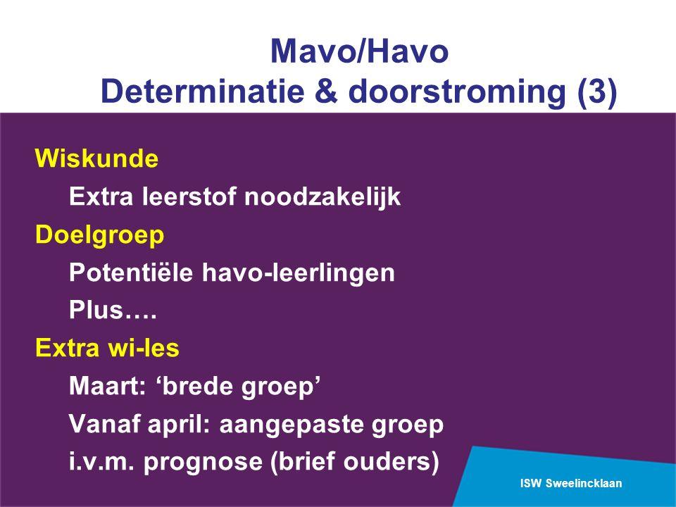 ISW Sweelincklaan Mavo/Havo Determinatie & doorstroming (3) Wiskunde Extra leerstof noodzakelijk Doelgroep Potentiële havo-leerlingen Plus….