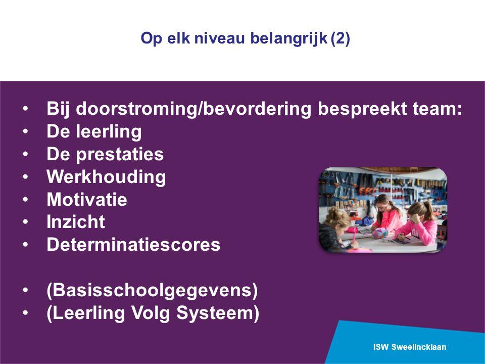 ISW Sweelincklaan Bij doorstroming/bevordering bespreekt team: De leerling De prestaties Werkhouding Motivatie Inzicht Determinatiescores (Basisschoolgegevens) (Leerling Volg Systeem) Op elk niveau belangrijk (2)