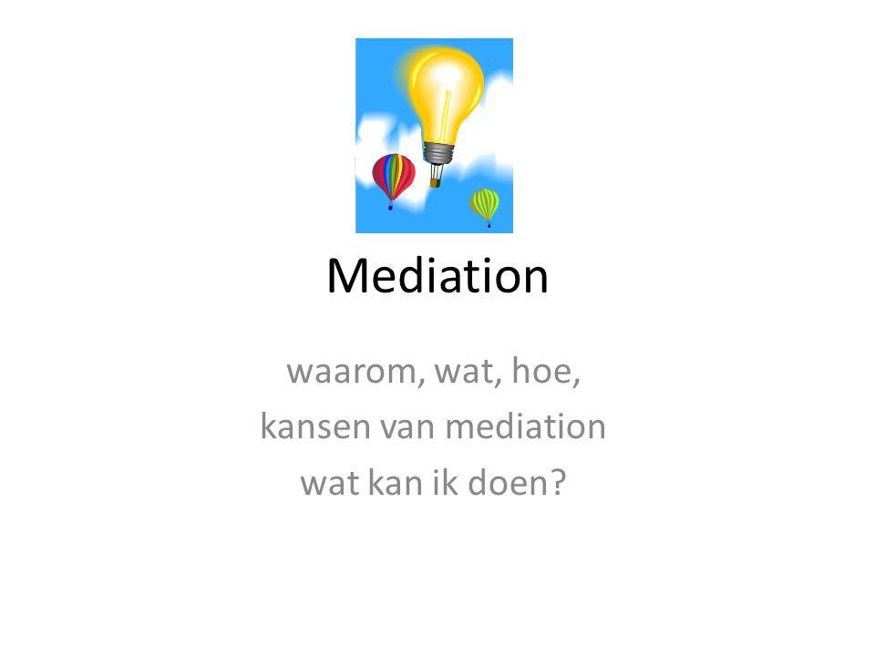 Mediation waarom, wat, hoe, kansen van mediation wat kan ik doen?