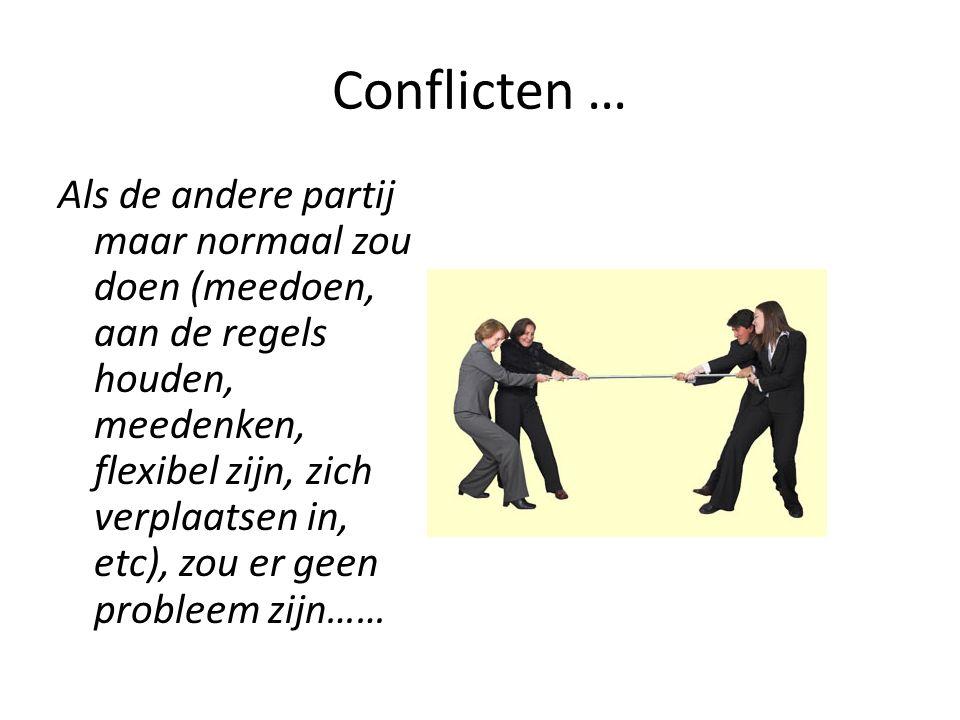 Conflicten … Als de andere partij maar normaal zou doen (meedoen, aan de regels houden, meedenken, flexibel zijn, zich verplaatsen in, etc), zou er geen probleem zijn……
