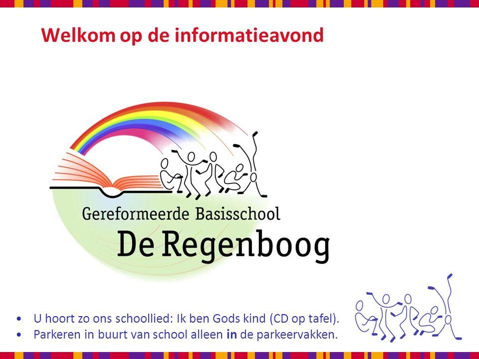 Welkom op de informatieavond U hoort zo ons schoollied: Ik ben Gods kind (CD op tafel).
