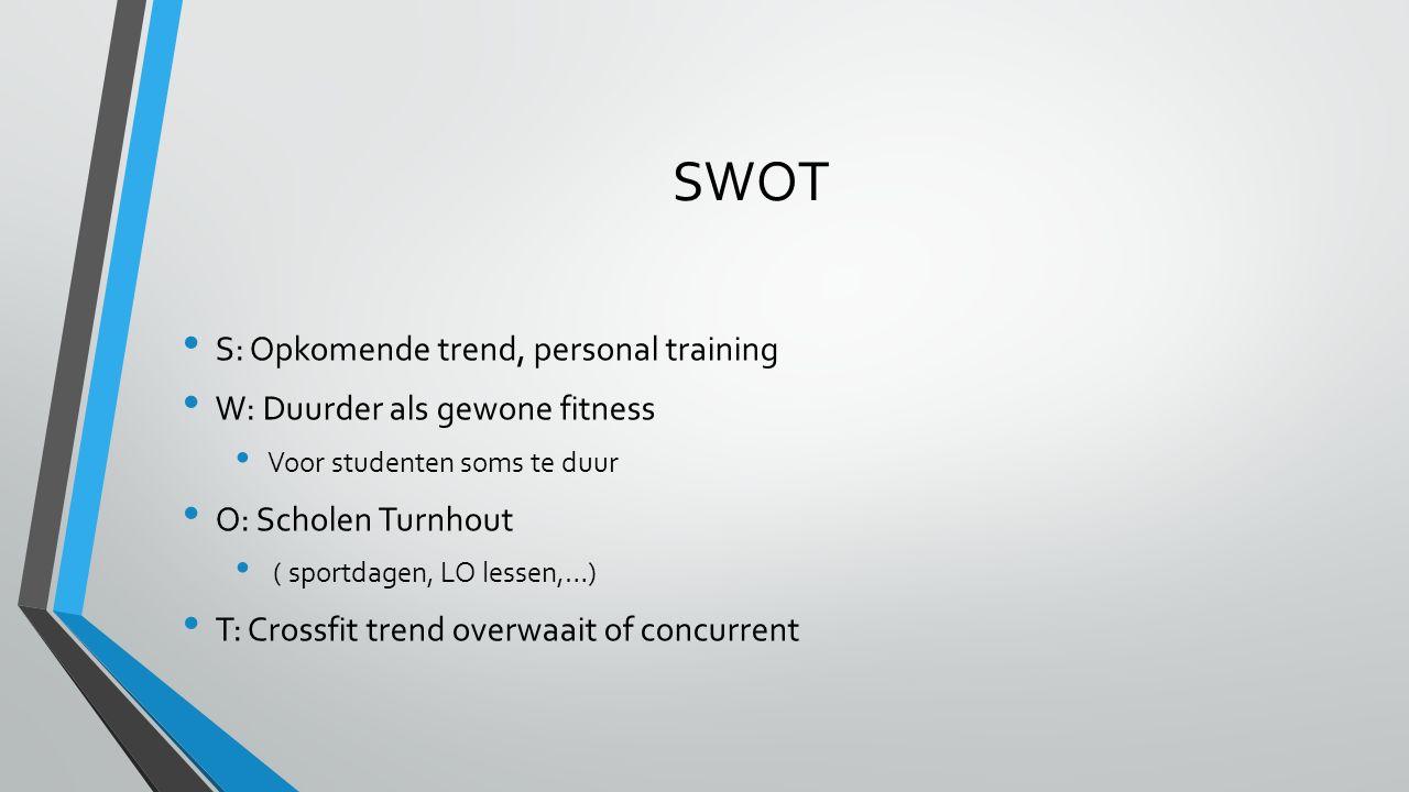 SWOT S: Opkomende trend, personal training W: Duurder als gewone fitness Voor studenten soms te duur O: Scholen Turnhout ( sportdagen, LO lessen,…) T: Crossfit trend overwaait of concurrent