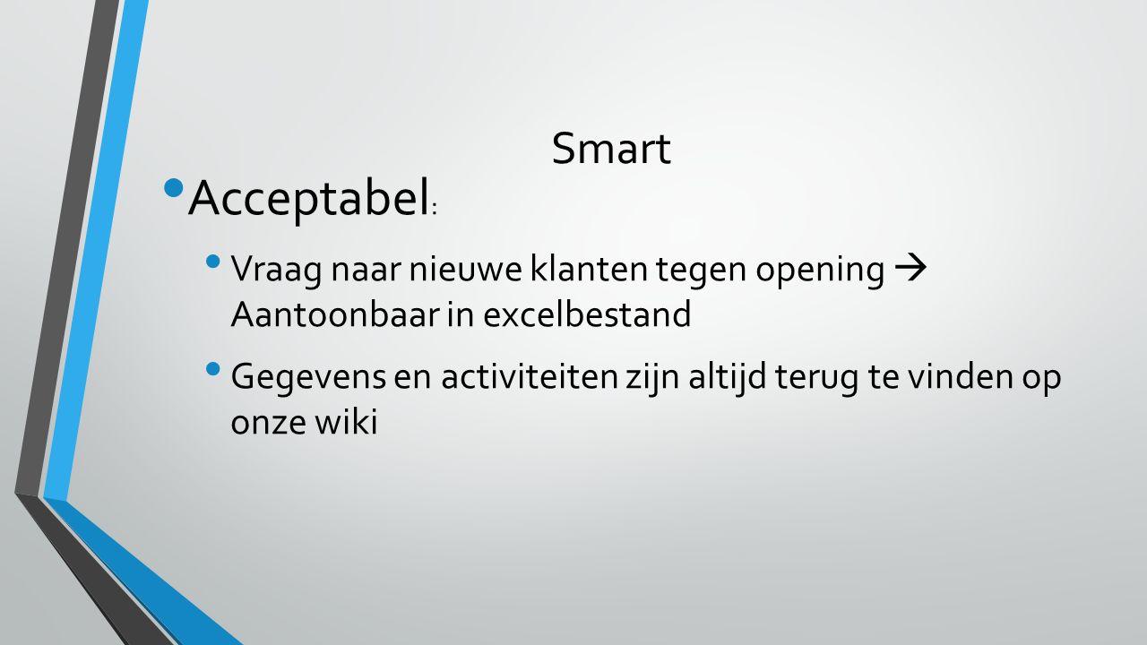 Smart Acceptabel : Vraag naar nieuwe klanten tegen opening  Aantoonbaar in excelbestand Gegevens en activiteiten zijn altijd terug te vinden op onze wiki