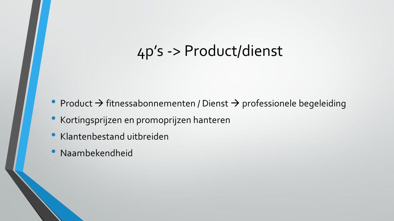 4p's -> Product/dienst Product  fitnessabonnementen / Dienst  professionele begeleiding Kortingsprijzen en promoprijzen hanteren Klantenbestand uitbreiden Naambekendheid