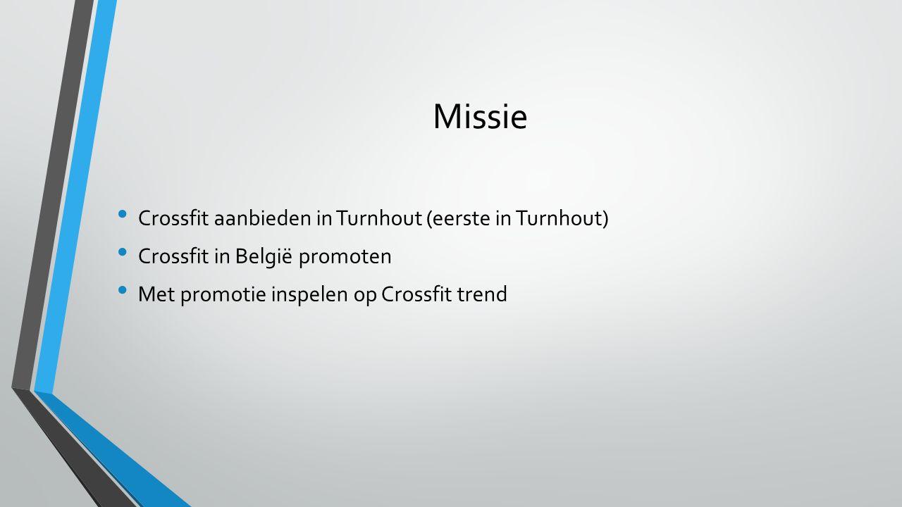 Missie Crossfit aanbieden in Turnhout (eerste in Turnhout) Crossfit in België promoten Met promotie inspelen op Crossfit trend