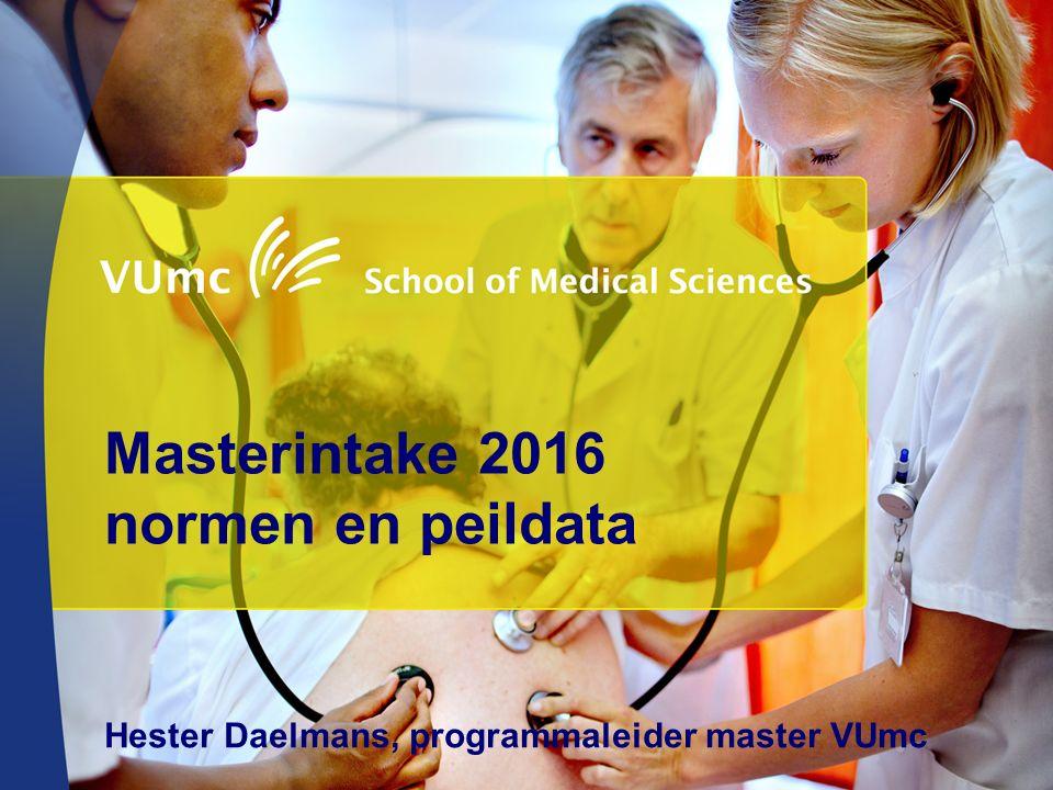 Masterintake 2016 normen en peildata Hester Daelmans, programmaleider master VUmc