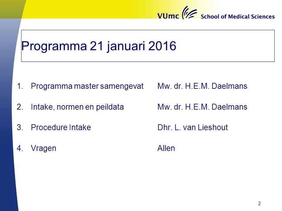 Programma 21 januari 2016 1.Programma master samengevatMw. dr. H.E.M. Daelmans 2.Intake, normen en peildataMw. dr. H.E.M. Daelmans 3.Procedure IntakeD