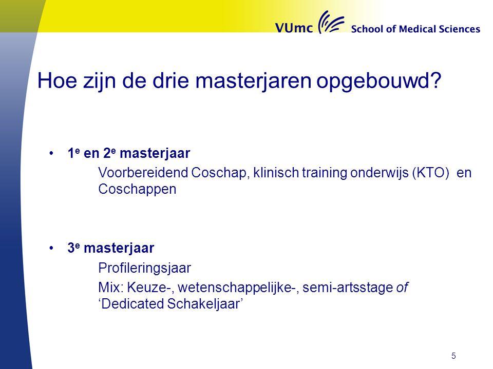 Hoe zijn de drie masterjaren opgebouwd? 1 e en 2 e masterjaar Voorbereidend Coschap, klinisch training onderwijs (KTO) en Coschappen 3 e masterjaar Pr