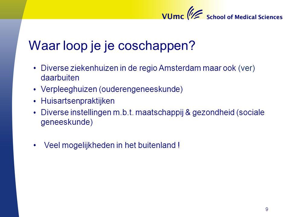 Waar loop je je coschappen? Diverse ziekenhuizen in de regio Amsterdam maar ook (ver) daarbuiten Verpleeghuizen (ouderengeneeskunde) Huisartsenpraktij