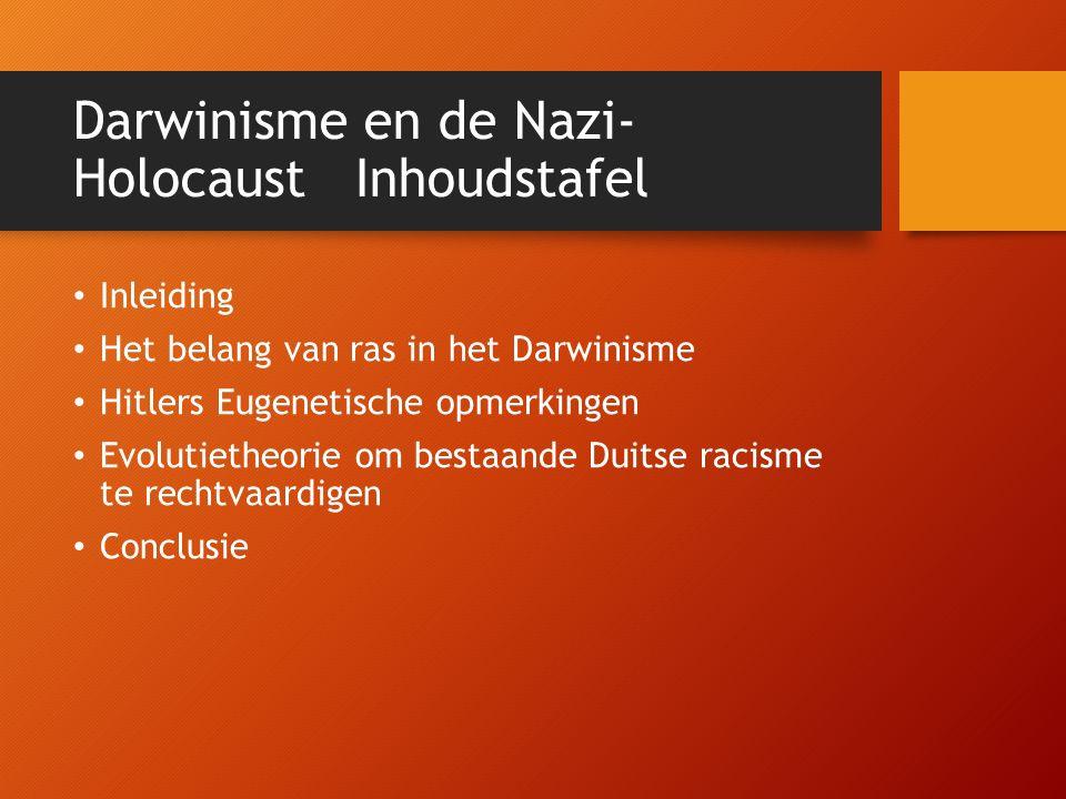 Inleiding Charles Darwin theorie survival of the fittest 1 van de belangrijkste factoren voor ontstaan Nazi-Duitsland Droeg bij tot het doden van minstens 9 miljoen mensen.