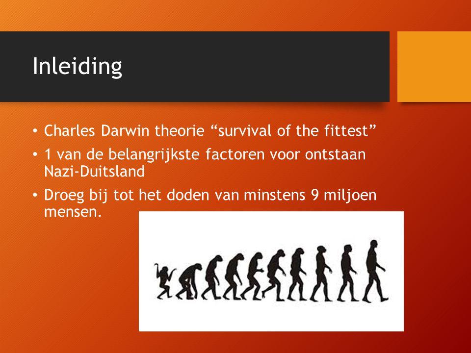 Het belang van ras in het Darwinisme Theorie gebaseerd op bijzondere eigenschap individu Maakt overleving in uiterst moeilijke omstandigheden mogelijk Bij verspreiding maakt ras overlevingsvoordeel Hitler wou deze wetenschap toepassen op maatschappij