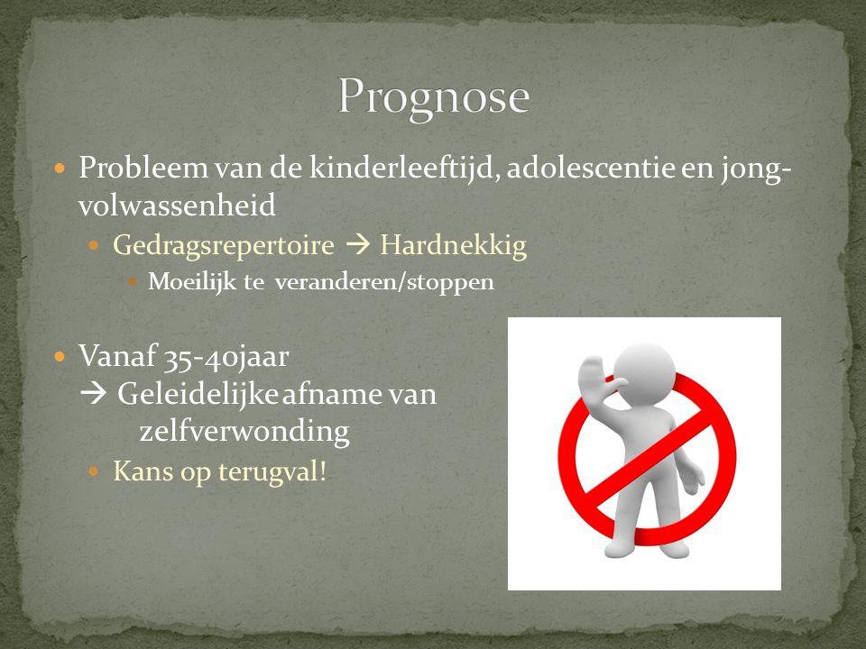 Probleem van de kinderleeftijd, adolescentie en jong- volwassenheid Gedragsrepertoire  Hardnekkig Moeilijk te veranderen/stoppen Vanaf 35-40jaar  Ge
