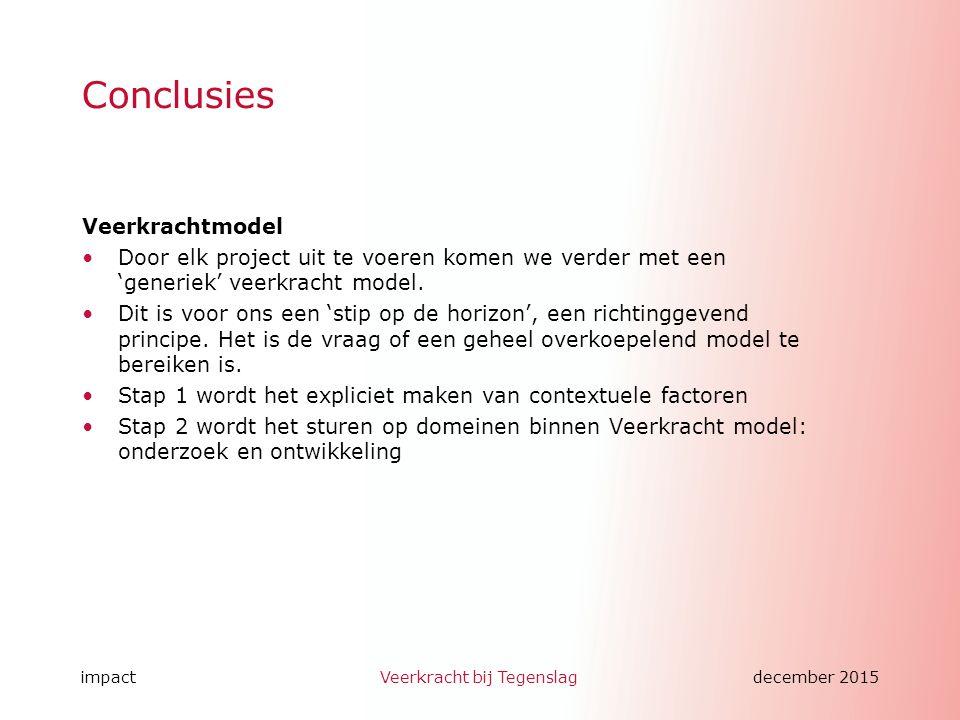 impactVeerkracht bij Tegenslagdecember 2015 Conclusies Veerkrachtmodel Door elk project uit te voeren komen we verder met een 'generiek' veerkracht model.
