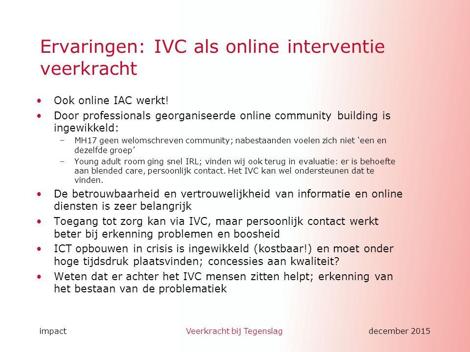 impactVeerkracht bij Tegenslagdecember 2015 Ervaringen: IVC als online interventie veerkracht Ook online IAC werkt.