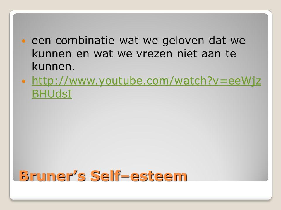 Bruner's Self–esteem een combinatie wat we geloven dat we kunnen en wat we vrezen niet aan te kunnen. http://www.youtube.com/watch?v=eeWjz BHUdsI http