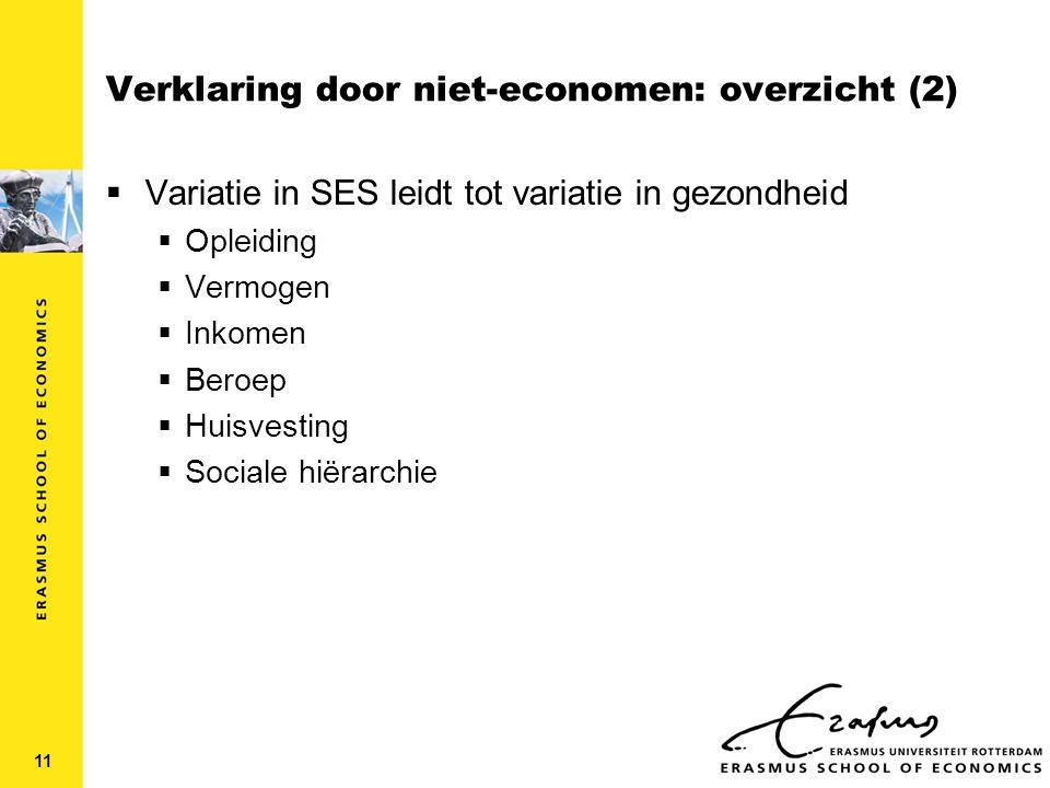 Verklaring door niet-economen: overzicht (2)  Variatie in SES leidt tot variatie in gezondheid  Opleiding  Vermogen  Inkomen  Beroep  Huisvesting  Sociale hiërarchie 11