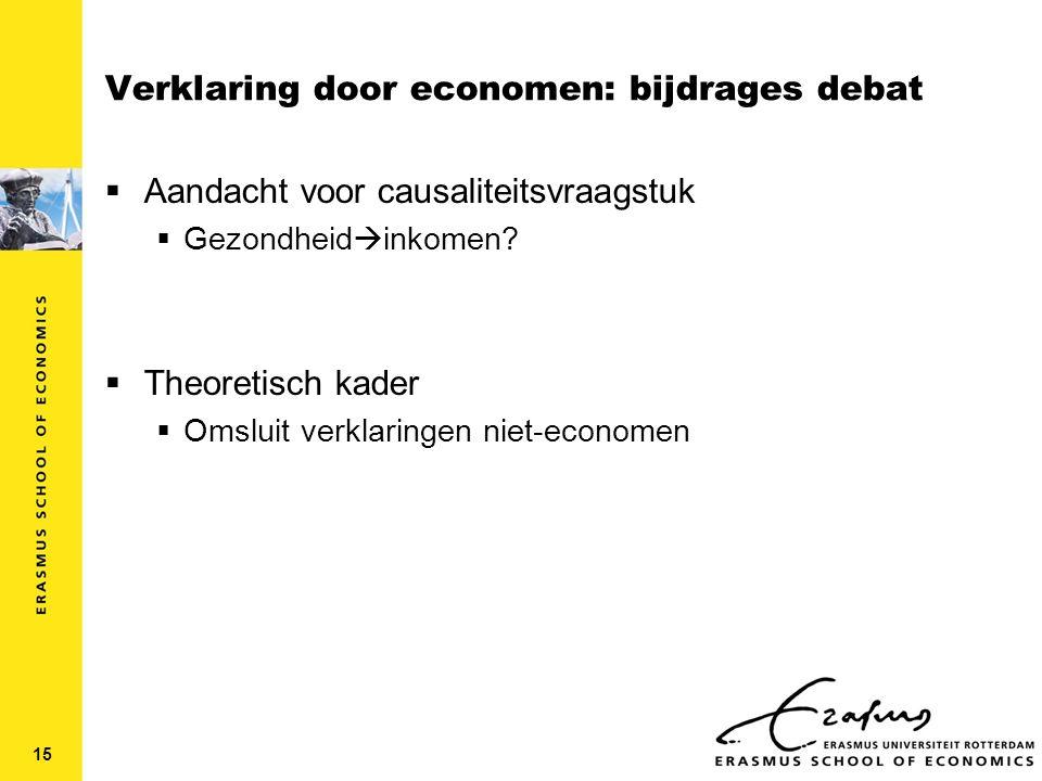 Verklaring door economen: bijdrages debat  Aandacht voor causaliteitsvraagstuk  Gezondheid  inkomen.