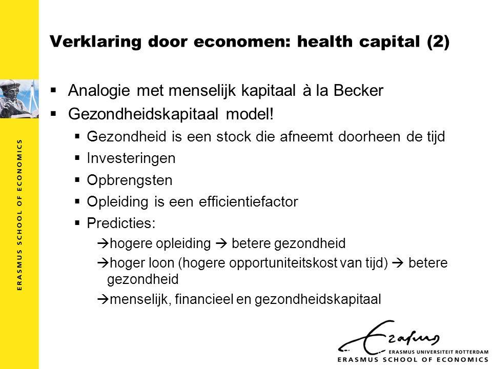Verklaring door economen: health capital (2)  Analogie met menselijk kapitaal à la Becker  Gezondheidskapitaal model.