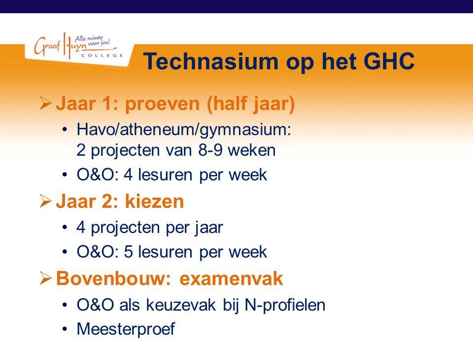 Technasium op het GHC  Jaar 1: proeven (half jaar) Havo/atheneum/gymnasium: 2 projecten van 8-9 weken O&O: 4 lesuren per week  Jaar 2: kiezen 4 proj