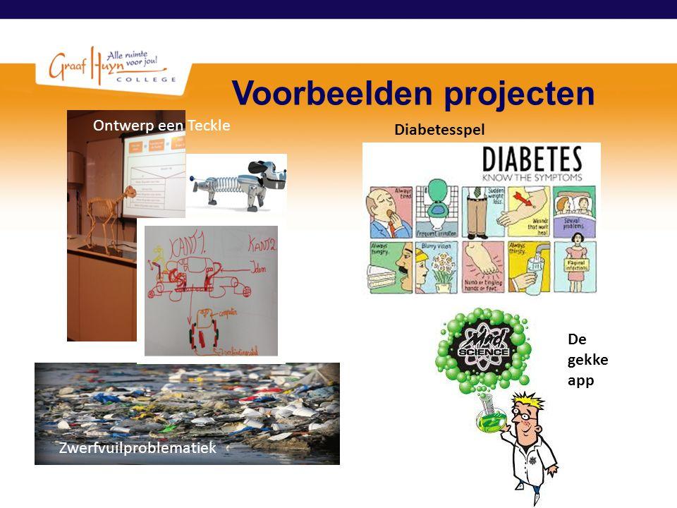 Voorbeelden projecten Zwerfvuilproblematiek Voorlichtingsspel diabetes Ontwerp een Teckle De gekke app Diabetesspel
