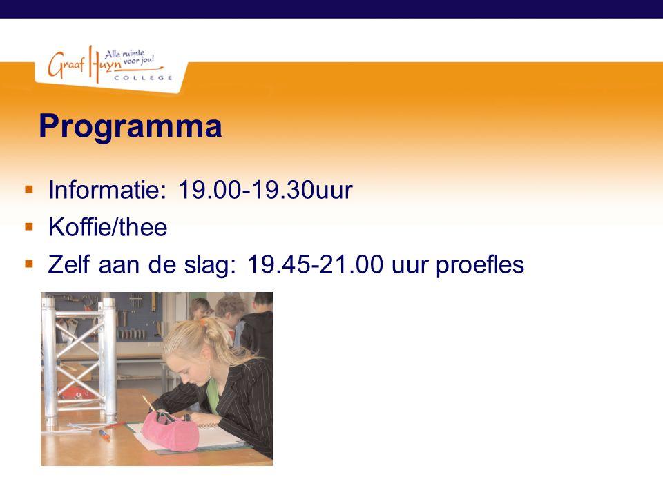 Programma  Informatie: 19.00-19.30uur  Koffie/thee  Zelf aan de slag: 19.45-21.00 uur proefles