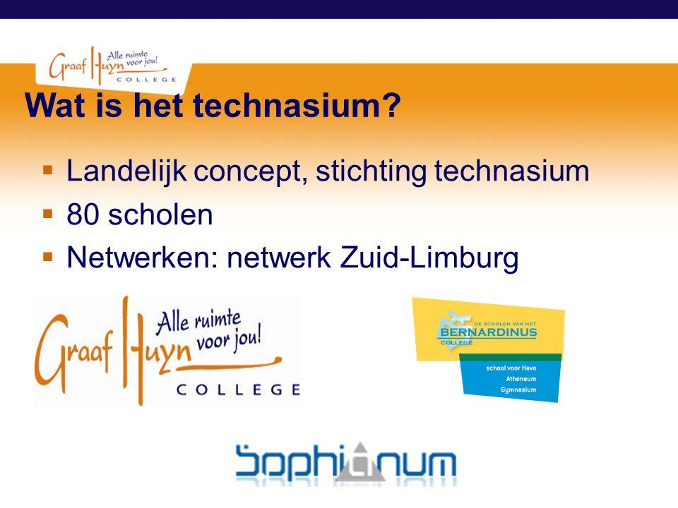 Wat is het technasium?  Landelijk concept, stichting technasium  80 scholen  Netwerken: netwerk Zuid-Limburg