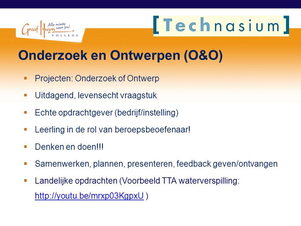 Onderzoek en Ontwerpen (O&O)  Projecten: Onderzoek of Ontwerp  Uitdagend, levensecht vraagstuk  Echte opdrachtgever (bedrijf/instelling)  Leerling