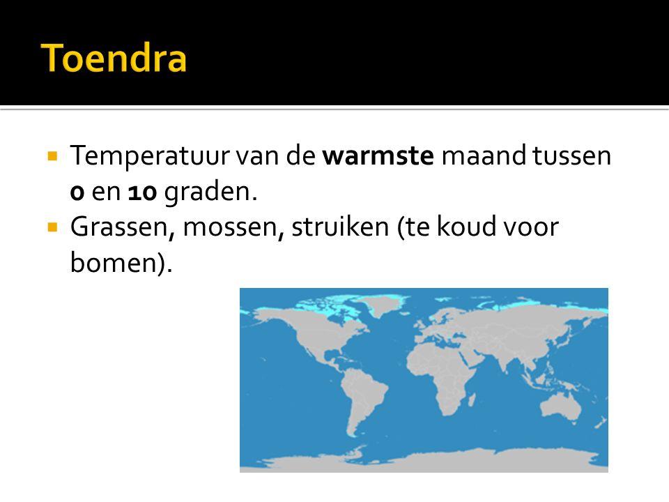  Temperatuur van de warmste maand tussen 0 en 10 graden.