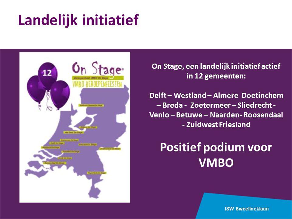 ISW Sweelincklaan On Stage, een landelijk initiatief actief in 12 gemeenten: Delft – Westland – Almere Doetinchem – Breda - Zoetermeer – Sliedrecht - Venlo – Betuwe – Naarden- Roosendaal - Zuidwest Friesland Positief podium voor VMBO Landelijk initiatief