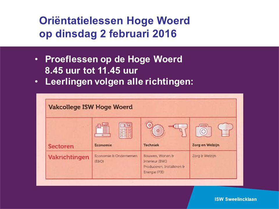 ISW Sweelincklaan Oriëntatielessen Hoge Woerd op dinsdag 2 februari 2016 Proeflessen op de Hoge Woerd 8.45 uur tot 11.45 uur Leerlingen volgen alle richtingen: