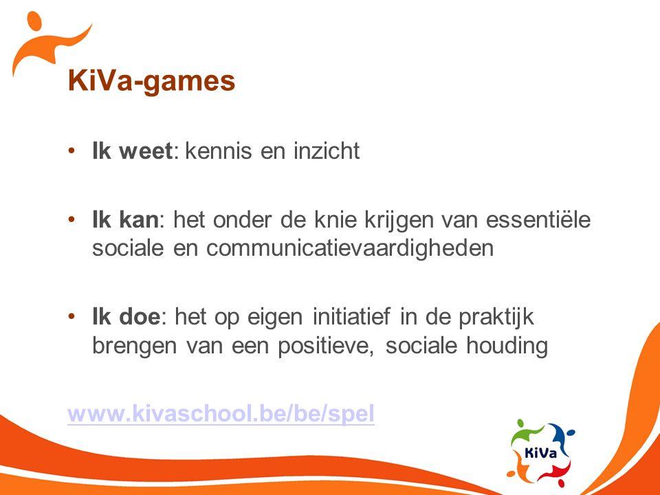 KiVa-games Ik weet: kennis en inzicht Ik kan: het onder de knie krijgen van essentiële sociale en communicatievaardigheden Ik doe: het op eigen initia