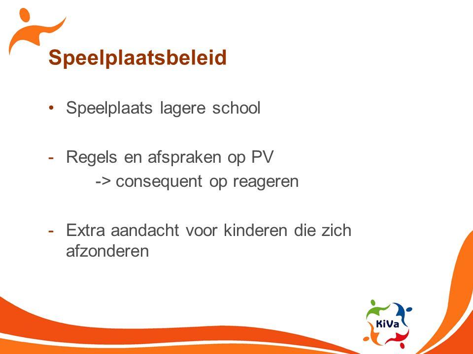 Speelplaatsbeleid Speelplaats lagere school -Regels en afspraken op PV -> consequent op reageren -Extra aandacht voor kinderen die zich afzonderen