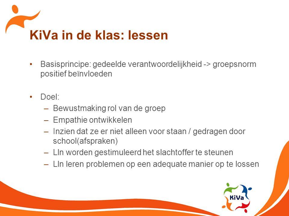 KiVa in de klas: lessen Basisprincipe: gedeelde verantwoordelijkheid -> groepsnorm positief beïnvloeden Doel: –Bewustmaking rol van de groep –Empathie