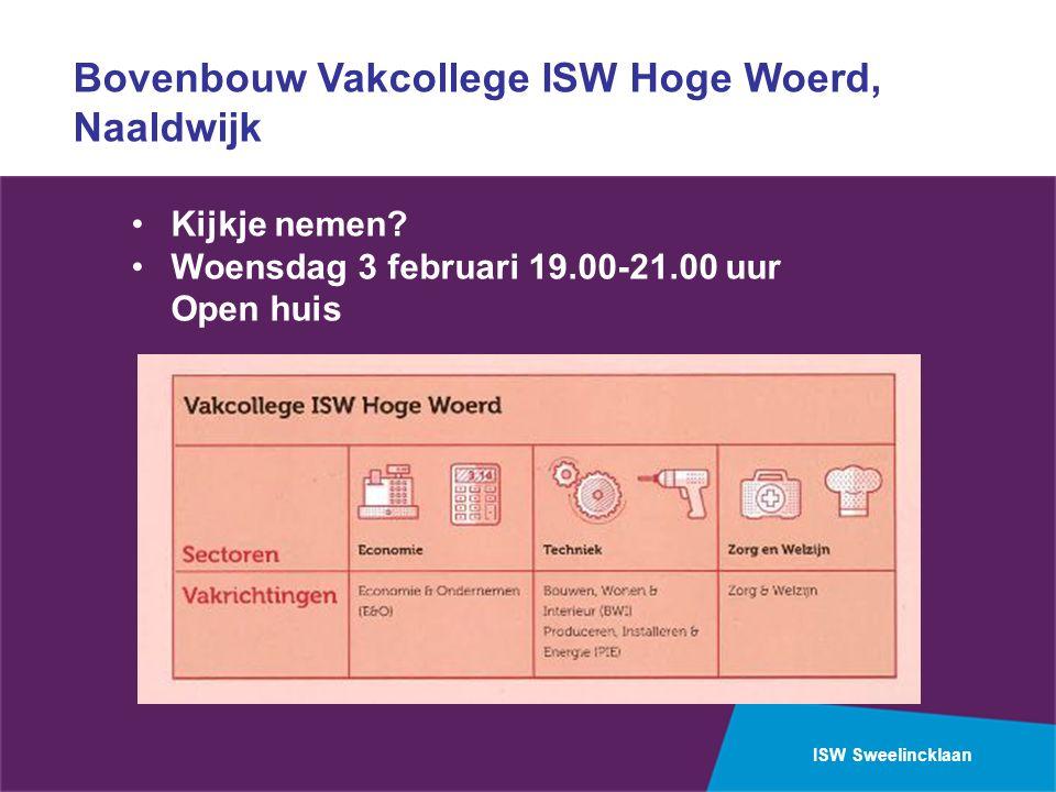 ISW Sweelincklaan Bovenbouw Vakcollege ISW Hoge Woerd, Naaldwijk Kijkje nemen? Woensdag 3 februari 19.00-21.00 uur Open huis