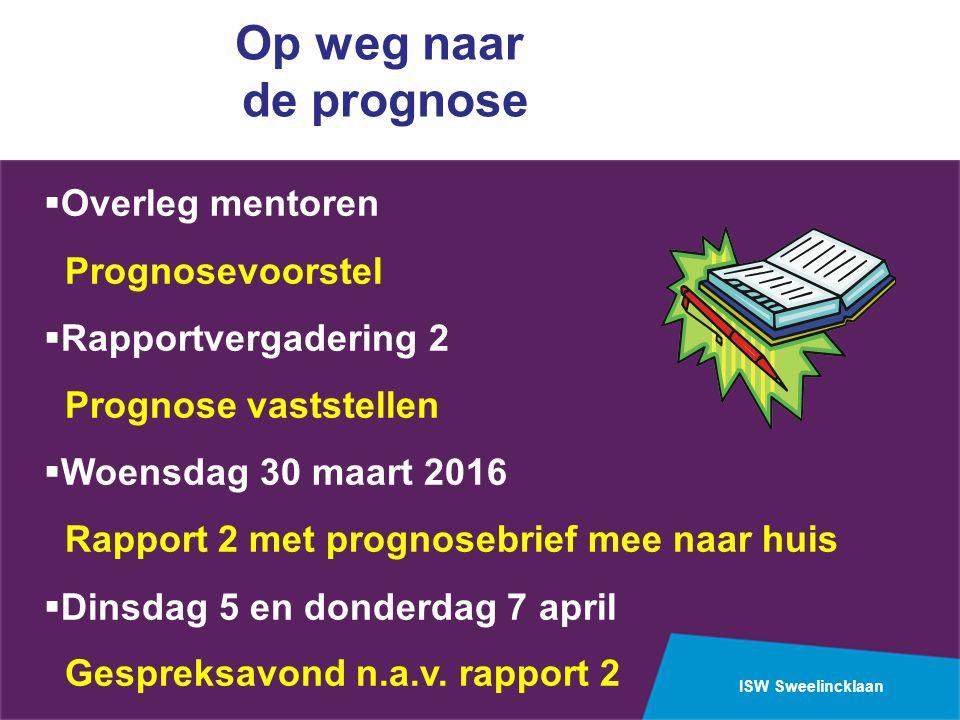 ISW Sweelincklaan Op weg naar de prognose  Overleg mentoren Prognosevoorstel  Rapportvergadering 2 Prognose vaststellen  Woensdag 30 maart 2016 Rap