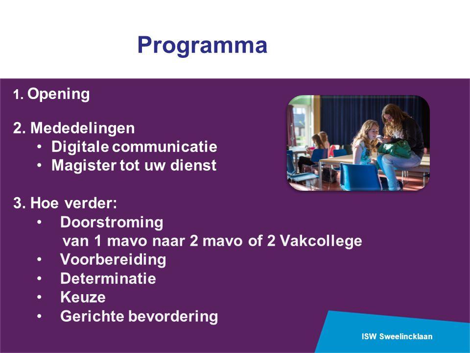 ISW Sweelincklaan Programma 1. Opening 2. Mededelingen Digitale communicatie Magister tot uw dienst 3. Hoe verder: Doorstroming van 1 mavo naar 2 mavo