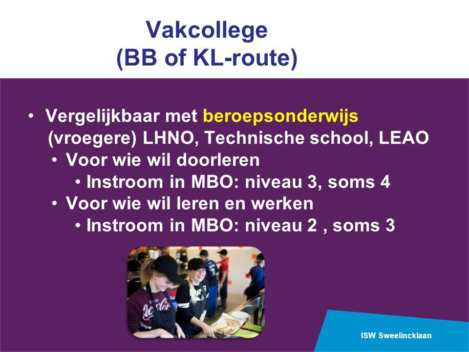 ISW Sweelincklaan Vakcollege (BB of KL-route) Vergelijkbaar met beroepsonderwijs (vroegere) LHNO, Technische school, LEAO Voor wie wil doorleren Instr