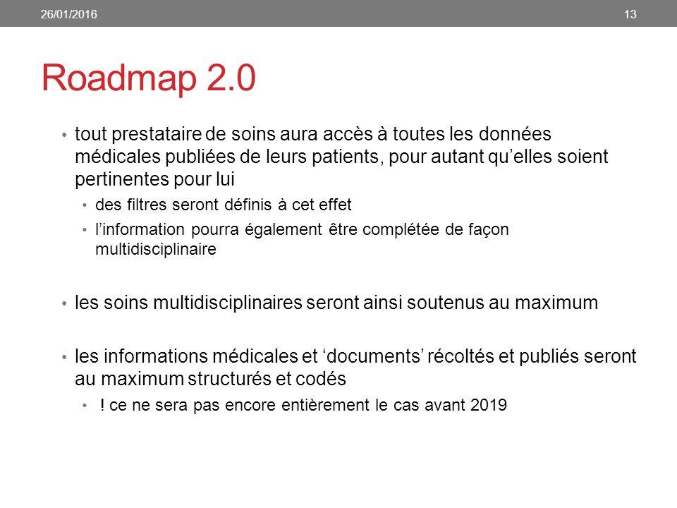 Roadmap 2.0 tout prestataire de soins aura accès à toutes les données médicales publiées de leurs patients, pour autant qu'elles soient pertinentes pour lui des filtres seront définis à cet effet l'information pourra également être complétée de façon multidisciplinaire les soins multidisciplinaires seront ainsi soutenus au maximum les informations médicales et 'documents' récoltés et publiés seront au maximum structurés et codés .