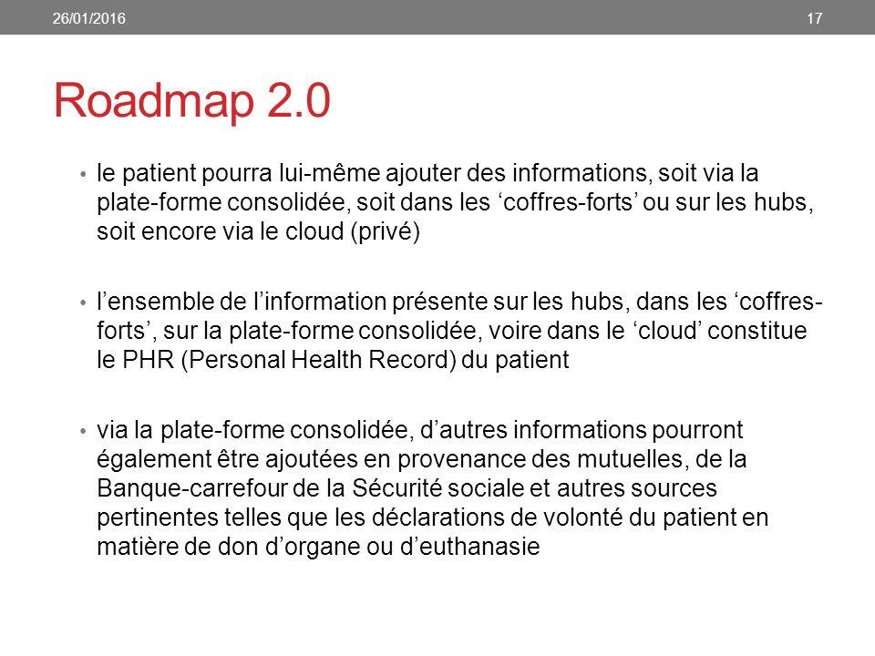Roadmap 2.0 le patient pourra lui-même ajouter des informations, soit via la plate-forme consolidée, soit dans les 'coffres-forts' ou sur les hubs, soit encore via le cloud (privé) l'ensemble de l'information présente sur les hubs, dans les 'coffres- forts', sur la plate-forme consolidée, voire dans le 'cloud' constitue le PHR (Personal Health Record) du patient via la plate-forme consolidée, d'autres informations pourront également être ajoutées en provenance des mutuelles, de la Banque-carrefour de la Sécurité sociale et autres sources pertinentes telles que les déclarations de volonté du patient en matière de don d'organe ou d'euthanasie 26/01/201617