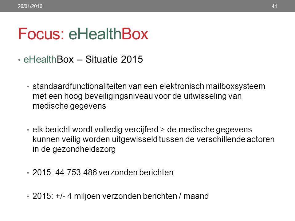Focus: eHealthBox eHealthBox – Situatie 2015 standaardfunctionaliteiten van een elektronisch mailboxsysteem met een hoog beveiligingsniveau voor de uitwisseling van medische gegevens elk bericht wordt volledig vercijferd > de medische gegevens kunnen veilig worden uitgewisseld tussen de verschillende actoren in de gezondheidszorg 2015: 44.753.486 verzonden berichten 2015: +/- 4 miljoen verzonden berichten / maand 26/01/201641