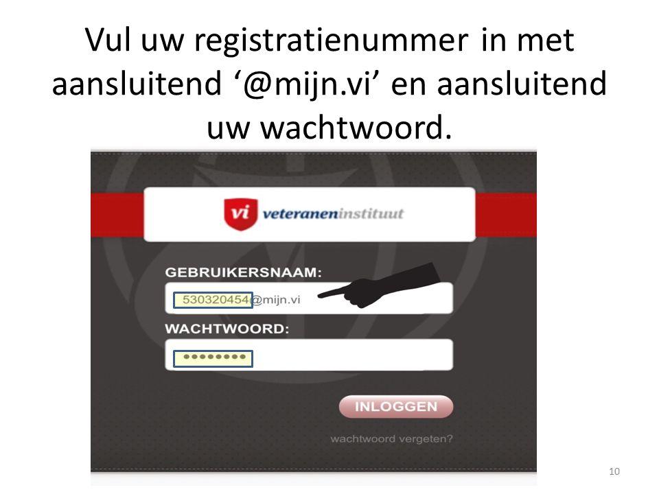 Vul uw registratienummer in met aansluitend '@mijn.vi' en aansluitend uw wachtwoord. 10