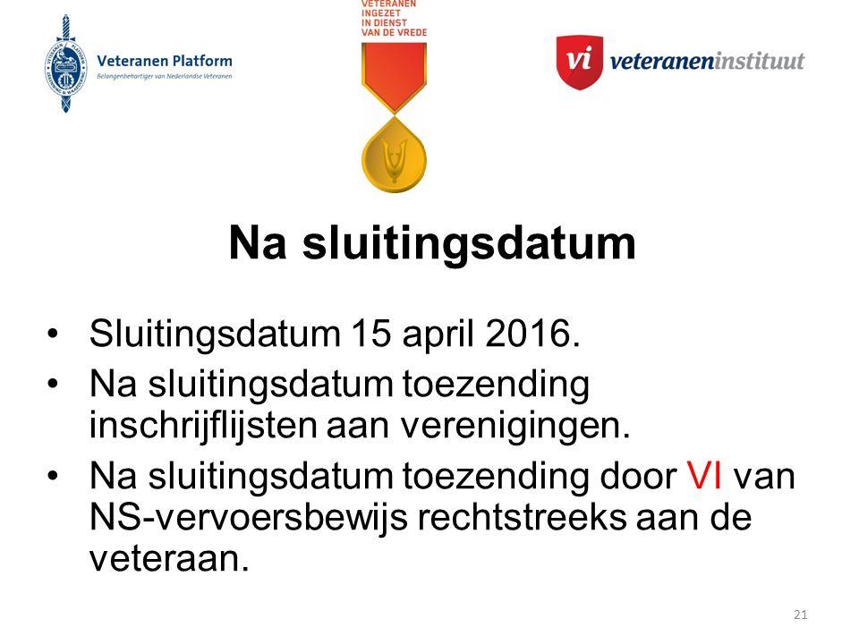 Na sluitingsdatum Sluitingsdatum 15 april 2016.