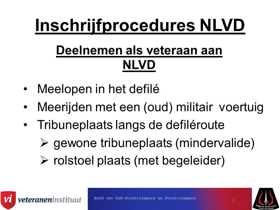 Inschrijfprocedures NLVD Deelnemen als veteraan aan NLVD Meelopen in het defilé Meerijden met een (oud) militair voertuig Tribuneplaats langs de defiléroute  gewone tribuneplaats (mindervalide)  rolstoel plaats (met begeleider) 3
