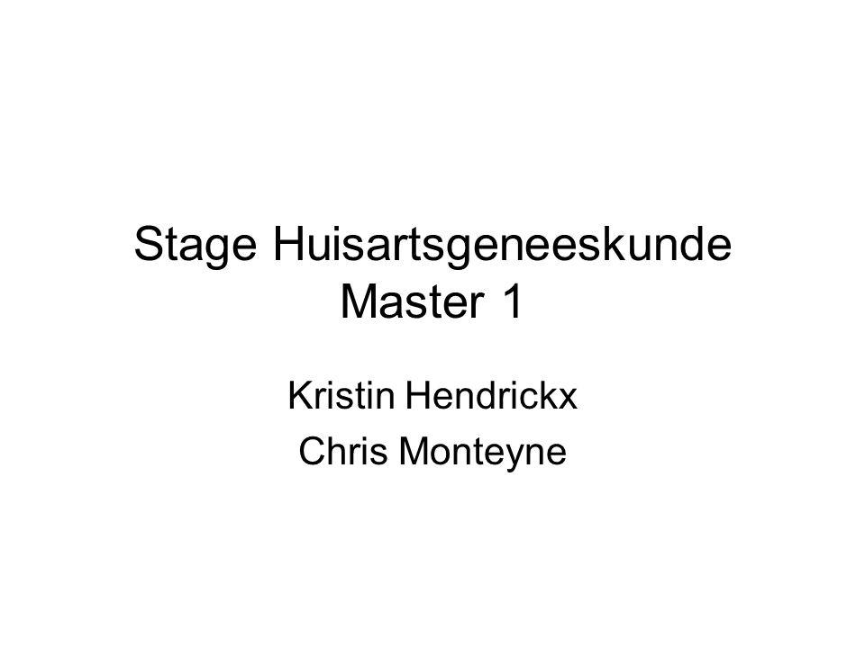 Stage Huisartsgeneeskunde Master 1 Kristin Hendrickx Chris Monteyne