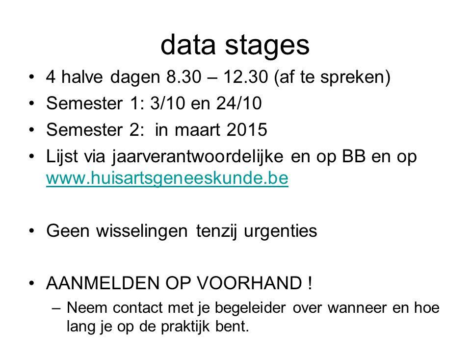 data stages 4 halve dagen 8.30 – 12.30 (af te spreken) Semester 1: 3/10 en 24/10 Semester 2: in maart 2015 Lijst via jaarverantwoordelijke en op BB en
